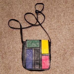 Vtg Leather Colorblock Crossbody Mini Bag